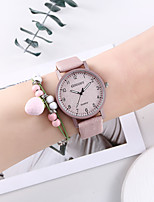 cheap -Women's Quartz Watches New Arrival Fashion Pink PU Leather Chinese Quartz Blushing Pink Chronograph Creative New Design 2 Piece Analog One Year Battery Life