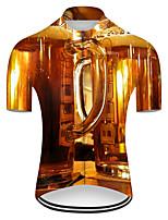 Недорогие -21Grams Муж. С короткими рукавами Велокофты Полиэстер Светло-коричневый 3D Градиент Пиво Октоберфест Велоспорт Джерси Верхняя часть Горные велосипеды Шоссейные велосипеды / Слабоэластичная / Дышащий