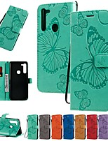cheap -Case For Motorola MOTO E6 / MOTO E6 plus / MOTO G8PLUS Wallet / Card Holder / with Stand Full Body Cases Butterfly / Solid Colored PU Leather