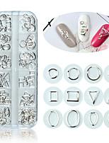 Недорогие -сплав гвозди шпильки геометрия круг прямоугольник круглый крестик серебро 12 сеток 3d ногтей заклепки полые украшения