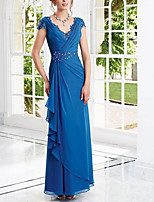 cheap -Sheath / Column Elegant Blue Engagement Formal Evening Dress V Neck Short Sleeve Floor Length Chiffon with Beading Draping 2020