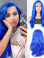 cheap -Synthetic Lace Front Wig Wavy Free Part Lace Front Wig Long Blue Synthetic Hair 18-26 inch Women's Cosplay Soft Adjustable Blue