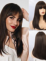 cheap -Synthetic Wig Straight Matte Classic Middle Part Neat Bang Wig Long Black / Brown Synthetic Hair 20 inch Women's Waterfall Dark Brown
