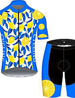 cheap -21Grams Men's Short Sleeve Cycling Jersey with Shorts Blue+Yellow Fruit Bike UV Resistant Quick Dry Sports Patterned Mountain Bike MTB Road Bike Cycling Clothing Apparel / Stretchy