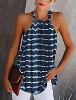 cheap -Women's Striped Tie Dye Print Blouse Daily Halter Neck Wine / Black / Blue / Purple / Green