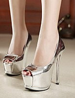 cheap -Women's Sandals Summer Stiletto Heel Open Toe Daily PU Black / Silver