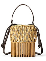 cheap -Women's Hollow-out Straw Top Handle Bag Straw Bag Solid Color Yellow