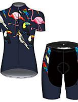 Недорогие -21Grams Жен. С короткими рукавами Велокофты и велошорты Синий+Розовый Фламинго Цветочные ботанический Велоспорт Дышащий Быстровысыхающий Виды спорта Фламинго Горные велосипеды Шоссейные велосипеды