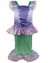 cheap -The Little Mermaid Princess Dress Flower Girl Dress Girls' Movie Cosplay A-Line Slip Purple Dress Children's Day Masquerade Satin / Tulle