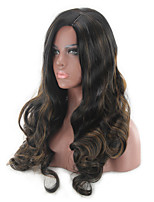 cheap -Synthetic Wig Curly Middle Part Wig Long Black / Gold Synthetic Hair 18 inch Women's Women Easy dressing Middle Part Black / Blonde
