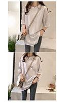 cheap -Women's Solid Colored Loose T-shirt Basic Daily White / Blue / Purple / Blushing Pink / Fuchsia