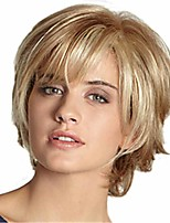 cheap -Synthetic Wig Curly Matte Layered Haircut Wig Short Long Light golden Synthetic Hair 6 inch Women's Fashionable Design curling Fluffy Blonde