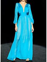 Недорогие -А-силуэт минималист Синий Обручение Торжественное мероприятие Платье V-образный вырез Рукав 3/4 В пол Шифон с Плиссировка 2020