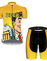 cheap -21Grams Women's Short Sleeve Cycling Jersey with Shorts Polyester Black / Yellow Polka Dot Gradient Oktoberfest Beer Bike Clothing Suit Breathable Quick Dry Ultraviolet Resistant Reflective Strips