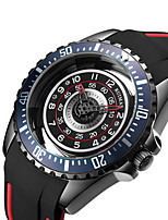 cheap -Men's Sport Watch Japanese Quartz Silicone 30 m Water Resistant / Waterproof Day Date Analog Fashion Cool - Black+Gloden Black One Year Battery Life