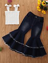 cheap -Toddler Girls' Basic Casual Print Sleeveless Regular Regular Clothing Set White