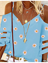 cheap -Women's Floral Daisy Cut Out Print T-shirt Basic Daily Strap V Neck White / Blue / Purple / Green