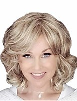 cheap -Synthetic Wig Curly Matte Asymmetrical Wig Short Light golden Synthetic Hair 14 inch Women's Easy dressing curling Fluffy Blonde