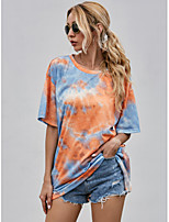 cheap -Women's T-shirt Tie Dye Print Round Neck Tops Loose Basic Summer Orange / Going out