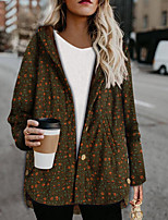 cheap -Women's Parka Floral Polyester Army Green / Navy Blue S / M / L