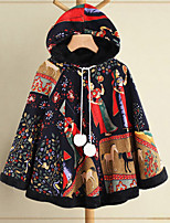 cheap -Women's Winter Parka Color Block Polyester Black One-Size