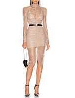 cheap -Sheath / Column Glittering Cut Out Party Wear Cocktail Party Dress High Neck Long Sleeve Asymmetrical Tulle with Sequin 2020