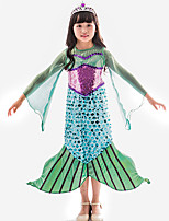 cheap -The Little Mermaid Princess Dress Flower Girl Dress Girls' Movie Cosplay A-Line Slip Green Dress Children's Day Masquerade Satin / Tulle Sequin