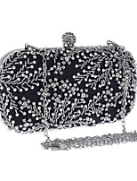 cheap -Women's Embroidery / Chain Polyester Evening Bag Embroidery Almond / Silver / Black