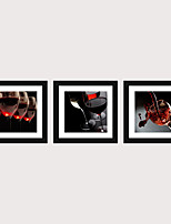 cheap -Framed Art Print Framed Set 3 - French Romantic Wine Glass PS Illustration Wall Art