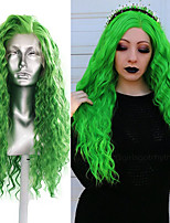 cheap -Synthetic Lace Front Wig Curly Middle Part Lace Front Wig Long Green Synthetic Hair 18-26 inch Women's Cosplay Soft Adjustable Green