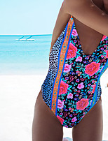 cheap -Women's One Piece Swimsuit Floral Padded Swimwear Bodysuit Swimwear Blue Black Breathable Quick Dry Comfortable Sleeveless - Swimming Surfing Water Sports Summer / Stretchy