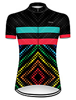 cheap -21Grams Women's Short Sleeve Cycling Jersey Polyester Black / Red Polka Dot Gradient Bike Jersey Top Mountain Bike MTB Road Bike Cycling Breathable Quick Dry Ultraviolet Resistant Sports Clothing