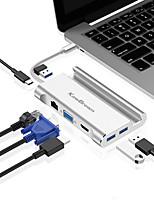 Недорогие -Kawbrown 7 в 1 тип c концентратор из алюминиевого сплава VGA Поддержка HDMI адаптер кронштейн pd usb тип c расширение док-станции гигабитного RJ45 для ноутбука и телефона