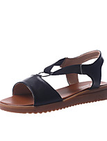 cheap -Women's Sandals Wedge Sandals Flat Sandals Leather Sandals Spring & Summer Flat Heel Open Toe Daily Outdoor Leather White / Black / Beige