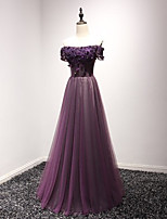 cheap -A-Line Luxurious Purple Engagement Formal Evening Dress Off Shoulder Short Sleeve Floor Length Tulle with Appliques 2020