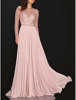 cheap -A-Line Elegant Pink Engagement Formal Evening Dress Illusion Neck Long Sleeve Sweep / Brush Train Chiffon with Pleats Sequin 2020 / Illusion Sleeve