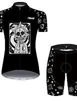 Недорогие -21Grams Жен. С короткими рукавами Велокофты и велошорты Черный / Белый Велоспорт Дышащий Быстровысыхающий Виды спорта С узором Горные велосипеды Шоссейные велосипеды Одежда / Слабоэластичная