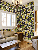 cheap -Art Deco Custom Self-Adhesive Mural Wallpaper Yellow Flowers Suitable For Bedroom Living Wall Decoration Art Room Wallcovering