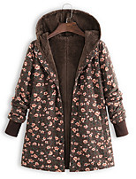 cheap -Women's Parka Floral Polyester Green / Brown / Navy Blue S / M / L