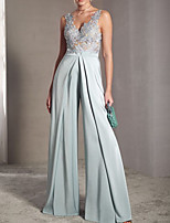 cheap -Jumpsuits Elegant Sexy Engagement Prom Dress V Neck Sleeveless Floor Length Chiffon with Pleats Appliques 2020