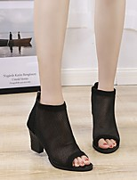 cheap -Women's Sandals Summer Chunky Heel Open Toe Daily Mesh Black / Brown