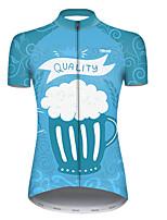 Недорогие -21Grams Жен. С короткими рукавами Велокофты Полиэстер Синий / белый В полоску Пиво Октоберфест Велоспорт Джерси Верхняя часть Горные велосипеды Шоссейные велосипеды / Слабоэластичная / Дышащий
