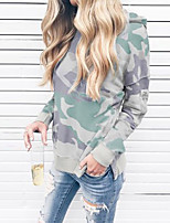 cheap -Women's Hoodie Print Casual Army Green Gray S M L XL