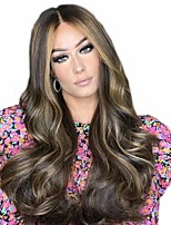 cheap -Synthetic Wig Matte Body Wave Middle Part Wig Very Long Brown / Black Synthetic Hair 25 inch Women's Ombre Hair Middle Part curling Brown