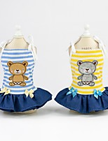 cheap -Dog Dress Dog Clothes Yellow Blue Costume Husky Labrador Alaskan Malamute Cotton Stripes Bear Stylish XS S M L XL