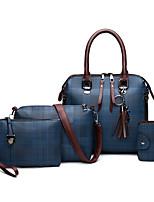 cheap -Women's Chain PU Bag Set Bag Sets Lattice 4 Pieces Purse Set Black / Blue / Red / Fall & Winter