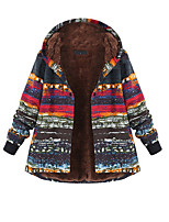 cheap -Women's Winter Parka Color Block Polyester Red S / M / L