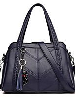 cheap -Women's PU Top Handle Bag Leather Bags Solid Color Wine / Black / Blue / Fall & Winter