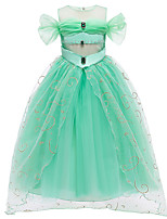cheap -Princess Princess Jasmine Dress Flower Girl Dress Girls' Movie Cosplay A-Line Slip Green Dress Children's Day Masquerade Tulle Polyester