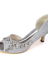cheap -Women's Wedding Shoes Spring & Summer Low Heel Peep Toe Minimalism Wedding Party & Evening Rhinestone / Sparkling Glitter Solid Colored Synthetics White / Light Purple / Champagne